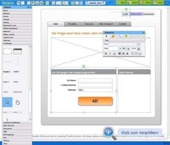 Cacoo Editor für Wireframes