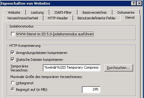Dienst-Tab für Websites am IIS