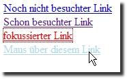 Formatierte Links im Browser