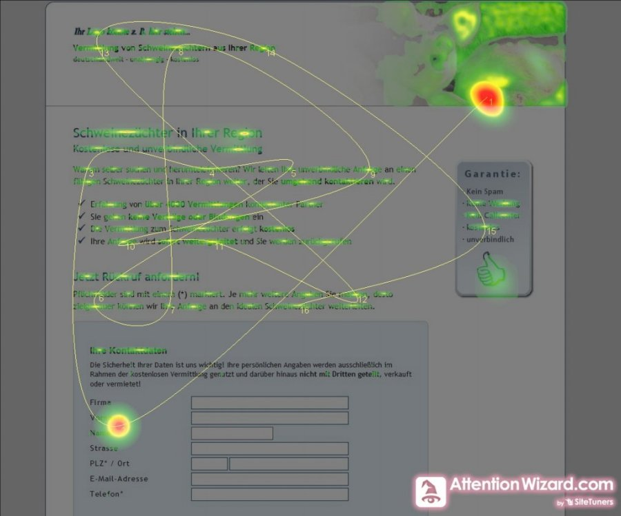 Eyetracking Simulation durch den Attention Wizard